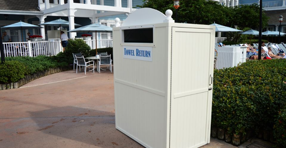 Towel Return Box at the Disney Yacht and Beach Club Stormalong Bay Water Park