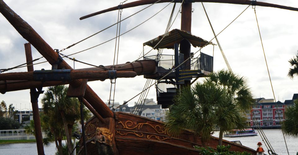 230 Foot water slide at Stormalong Bay Disney Yacht Club start at Pirate Ship on the Beach