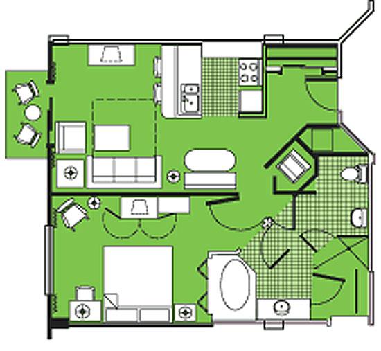 Disney Beach Club Villas 1 Bedroom Floor Plan