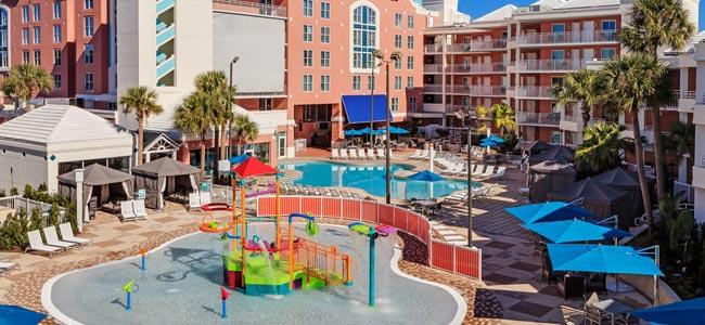 Embassy Suites Lake Buena Vista Orlando kids splash pad with indoor outdoor heated pool