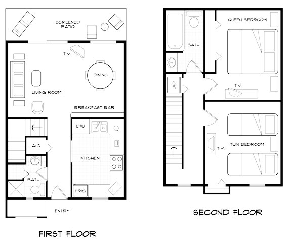 Floorplan of the Fantasy World Resort 2 Bedroom Villa