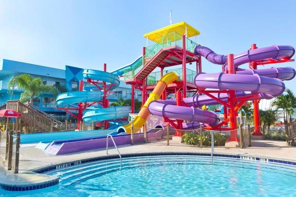 View of the cluster of water slides at the Flamingo Waterpark resort in Orlando Fl 600