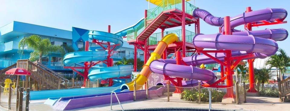 View of the cluster of water slides at the Flamingo Waterpark resort in Orlando Fl 960