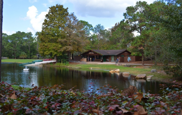 View of the campground market across the lake at Fort Wilderness
