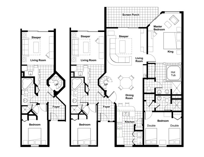Westgate town center villas floorplans and pictures for 4 bedroom villa plans