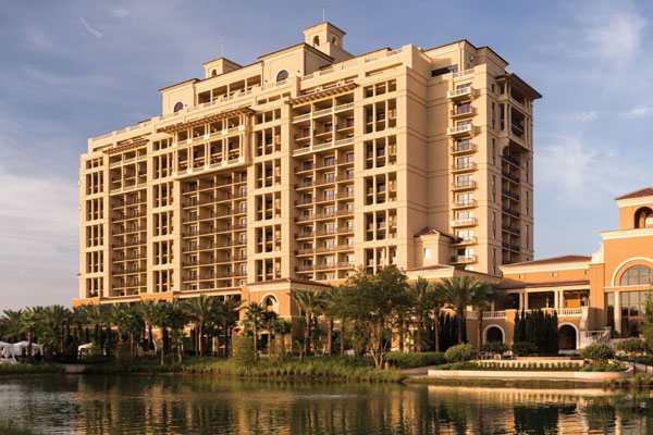 View of the Four Seasons Orlando Hotel in Disney World from the Lake