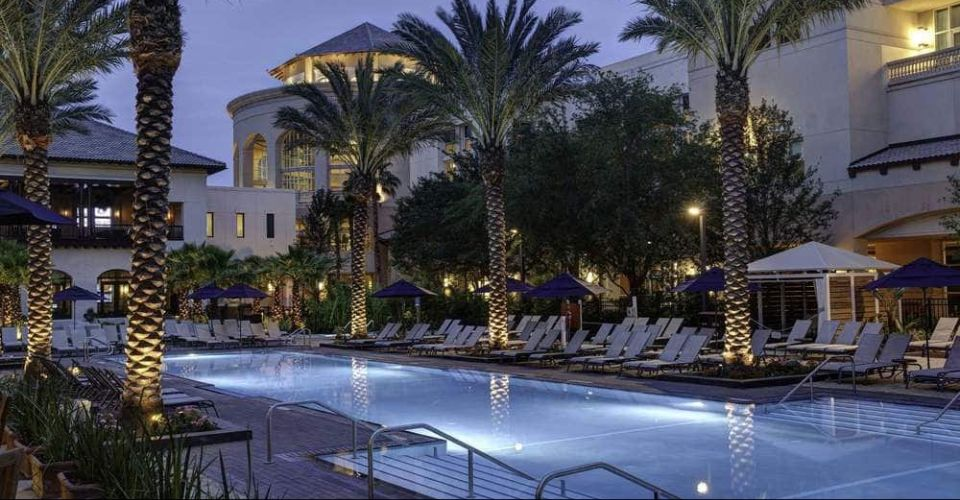 Adult Pool in the evening at the Gaylord Palms Resort