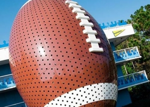 View of Giant Football that makes up the staircase to Touchdown Hotel at All Star Sports Resort