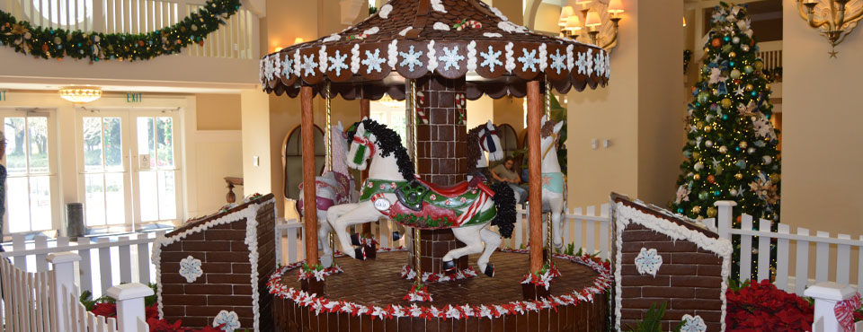 Gingerbread Carousel at the Disney Beach Club at Disney World in Orlando wide