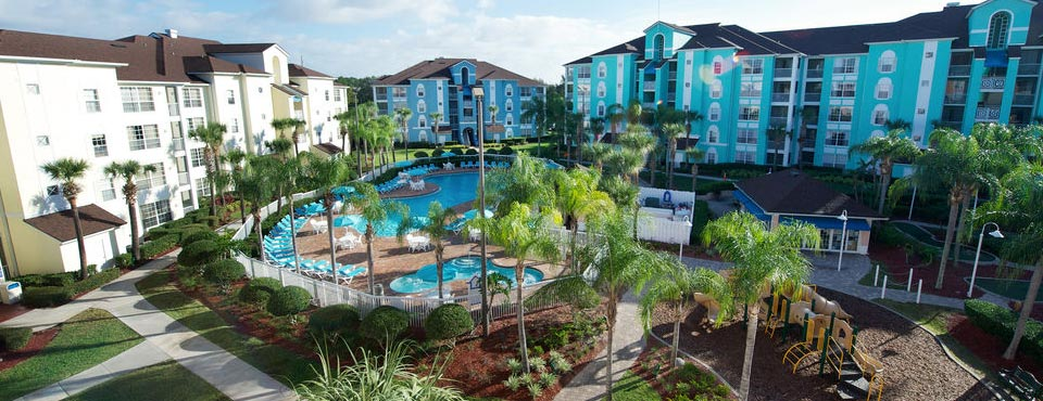 Aerial View of the Resort and largest Outdoor Quiet Pool with plenty of seating and childrens pool area 960