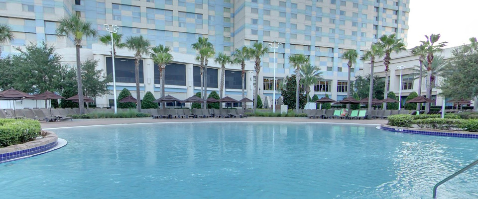 View of the Zero Entry access point to the Pool and Lazy River at the Hilton Orlando at Bonnet Creek