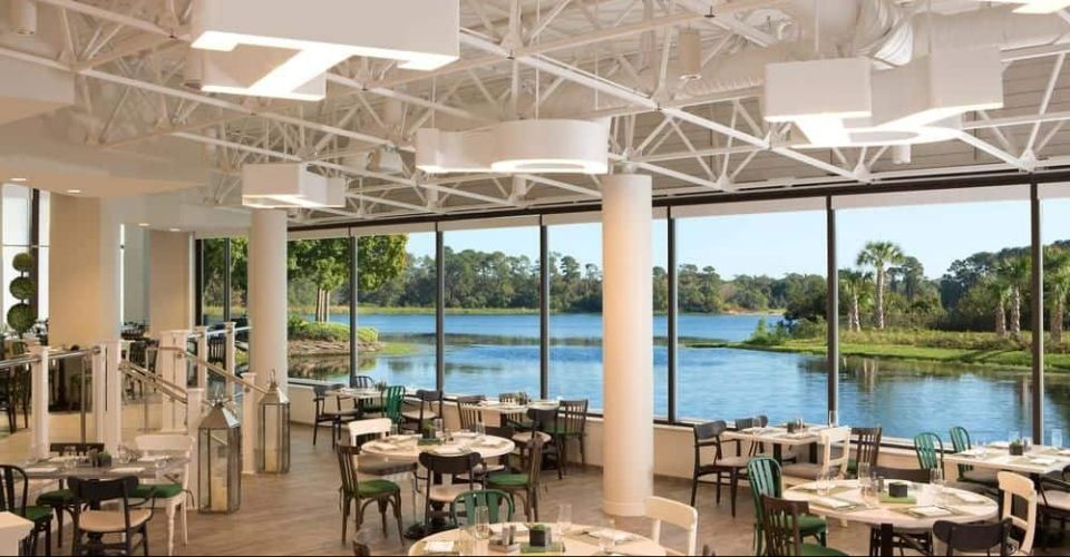 Waterfront view dining at the Letterpress Restaurant Hilton Buena Vista Palace 960