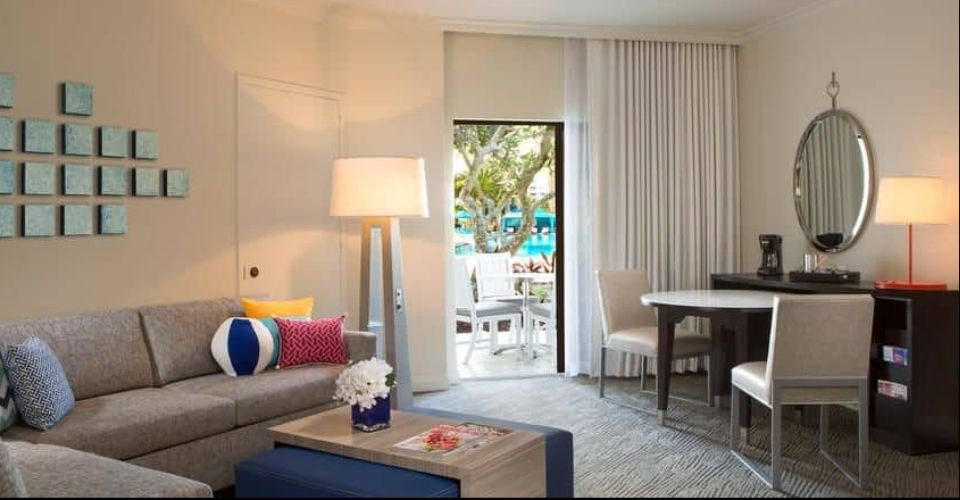 One Bedroom Living Room at the Island Hilton Buena Vista Palace 960