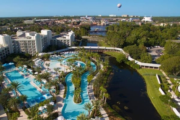 Aerial view of Outdoor Pools Lazy River at Hilton Buena Vista Palace 600