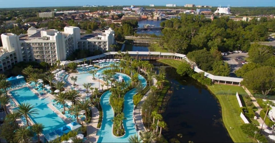 Aerial view of Outdoor Pools Lazy River at Hilton Buena Vista Palace 960