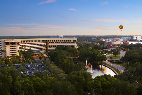 Hilton Orlando Lake Buena Vista with Disney Springs in the background