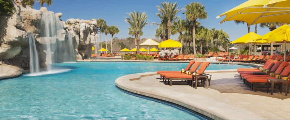 Family Lagoon Outdoor Pool with Water Fall at the Hyatt Regency Grand Cypress in Orlando Florida