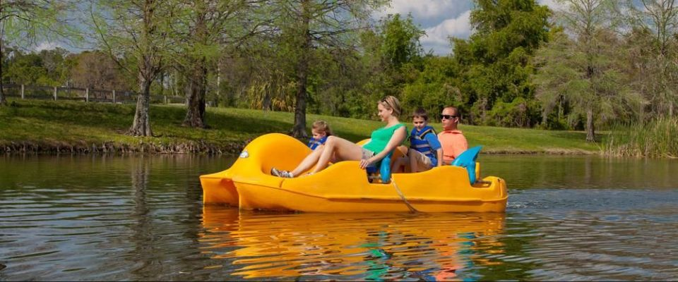 Fun on Lake Windsong at the Hyatt Regency Grand Cypress Orlando in a paddleboat