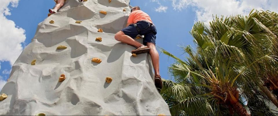 People on the Rock Climbing Wall at the Hyatt Regency Grand Cypress in Orlando Fl