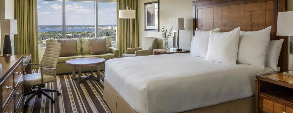 Executive Room with Living spage at the Hyatt Regency Orlando on International Drive in Orlando Fl wide
