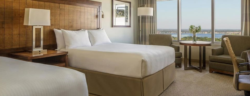 Standard Room with Double Beds and amazing views of the city at the Hyatt Regency Orlando on International Drive in Orlando Fl