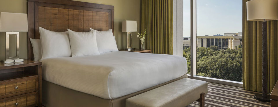 Standard Room with King Bed and amazing views of the city at the Hyatt Regency Orlando on International Drive in Orlando Fl