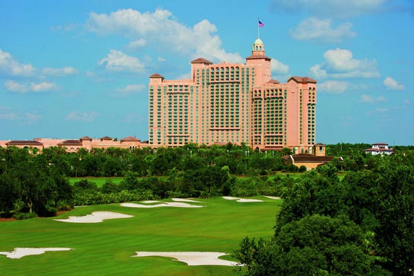 View of the JW Marriott Grande Lakes Orlando main Hotel building from the Golf Course 600