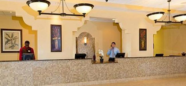View of the Check-in counter at the Lake Buena Vista Resort Village in Orlando