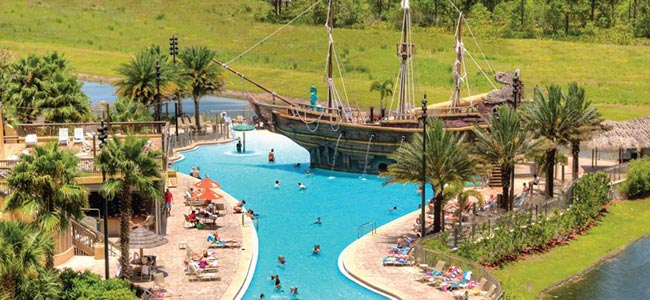 Far away view of the Family Pool and Water Slide Pirate Ship at the Lake Buena Vista Village Resort
