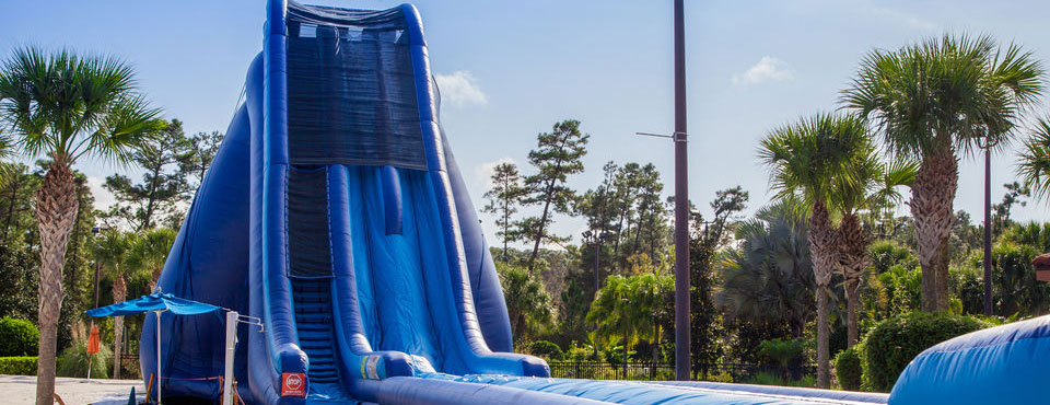 Huge Blow Up Blue Slide at the Holiday Inn Orange Lake Resort in Kissimmee Fl