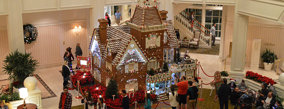 View of the Life Size Ginger Bread House in the Lobby of the Disney Grand Floridian Resort at Christmas wide