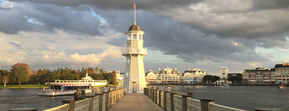 Lighthouse on the Pier at the Disney Yacht Club Resort in Orlando Fl wide