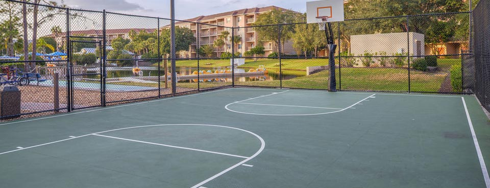View of Basketball Court at the Liki Tiki Village in Winter Garden Fl