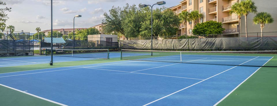 View of Tennis Courts at the Liki Tiki Village near Orlando Fl
