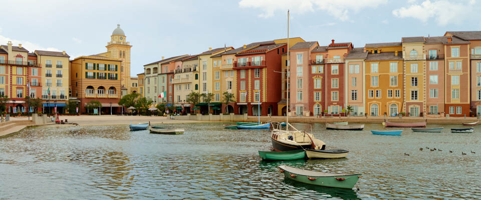 View of the Italian Harbor with sailboats at the Loews Portofino Bay Resort Universal Orlando 960