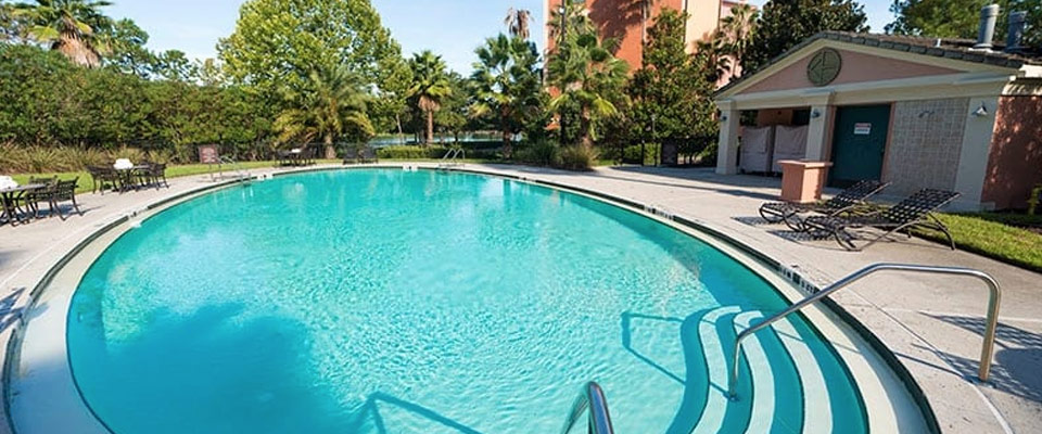 View of the Adults Only Hillside Pool at the Loews Portofino Bay Hotel in Orlando Fl