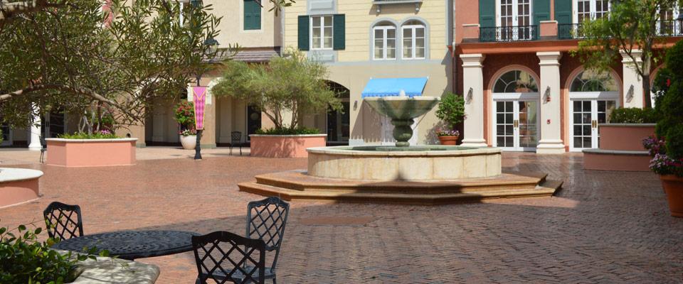 Loews Portofino Bay Resort Fountain in center of Italian resort town area 960