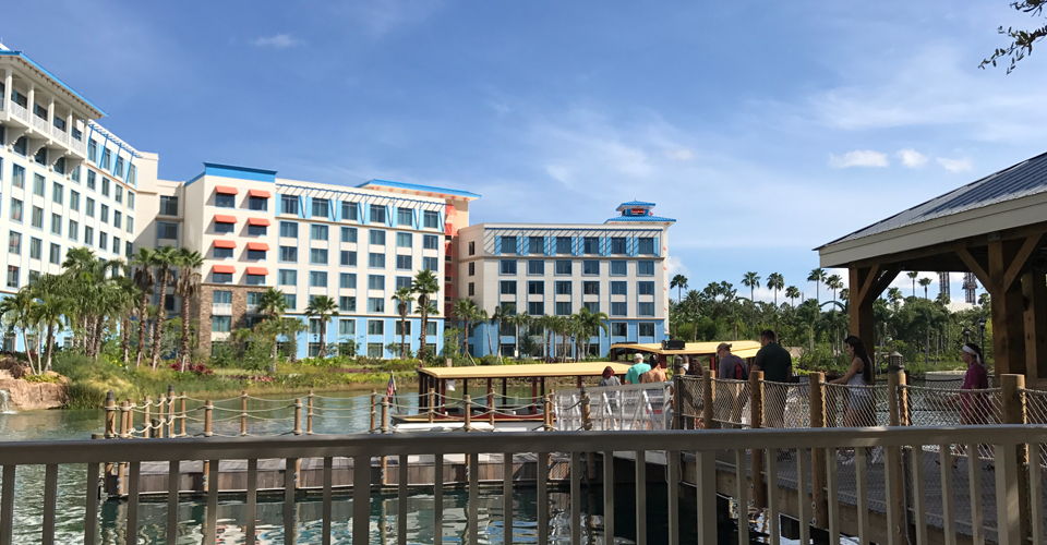 View of the dock with the water taxi picks up at Sapphire Falls Resort in Orlando Fl 960