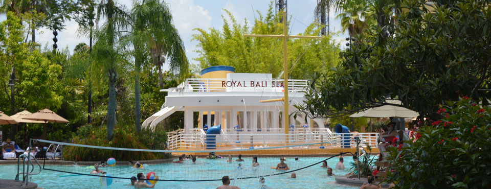 Pool at the Loews Royal Pacific Resort in Orlando with Kids Splash ship in the background wide