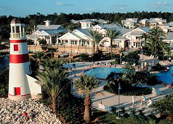 Main Pool with a view of the lighthouse at the Disney Old Key West Resort in Orlando Florida