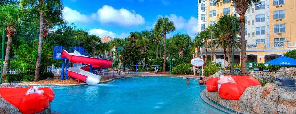 View of the Large Water Slide Head on at The Inn at Calypso Cay in Kissimmee Fl 960