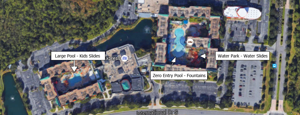 Map overview of the Lagoon and Oasis Pools at the Holiday Inn Resort Orlando Suites Water Park