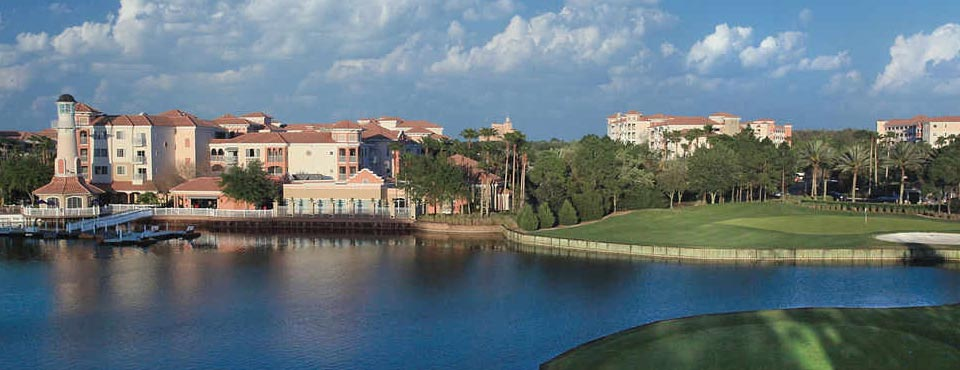 View of the Marriott Grande Vista Resort from the Lake in Orlando Fl 960