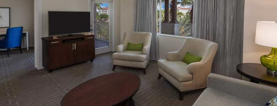 Living Space with Sleeper Sofa at the Marriott Grande Vista Resort in Orlando