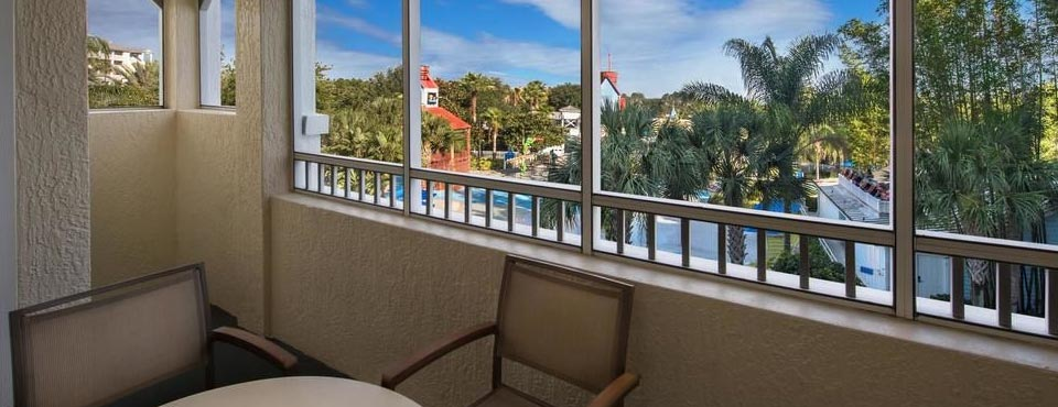 The large private Balcony at the Marriott Harbour Lake offer views of the Resort and Water Park in Orlando