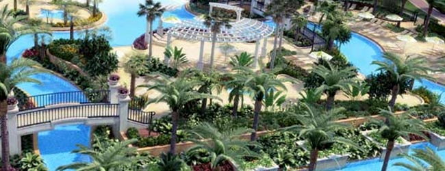 Float around in this 425 foot heated lazy river at the Marriott Lakeshore Reserve in Orlando Fl 650