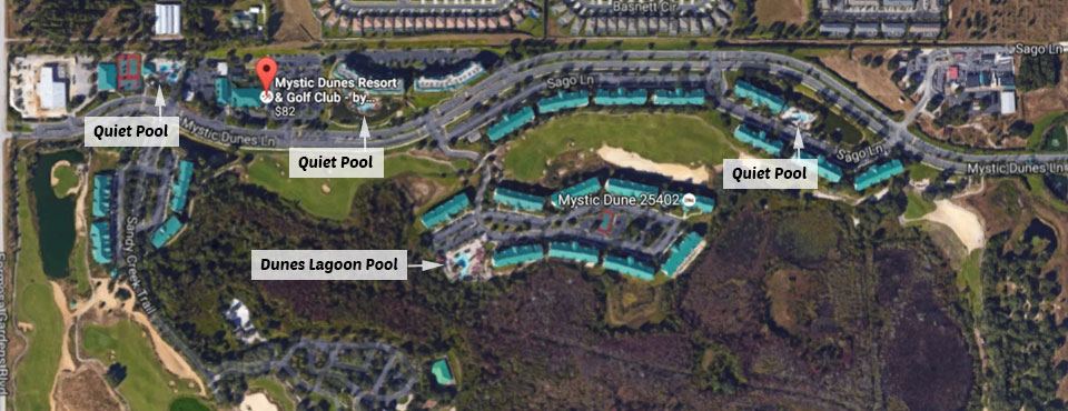 Map locations of the 3 Quiet Pools at the Mystic Dunes Resort in Orlando