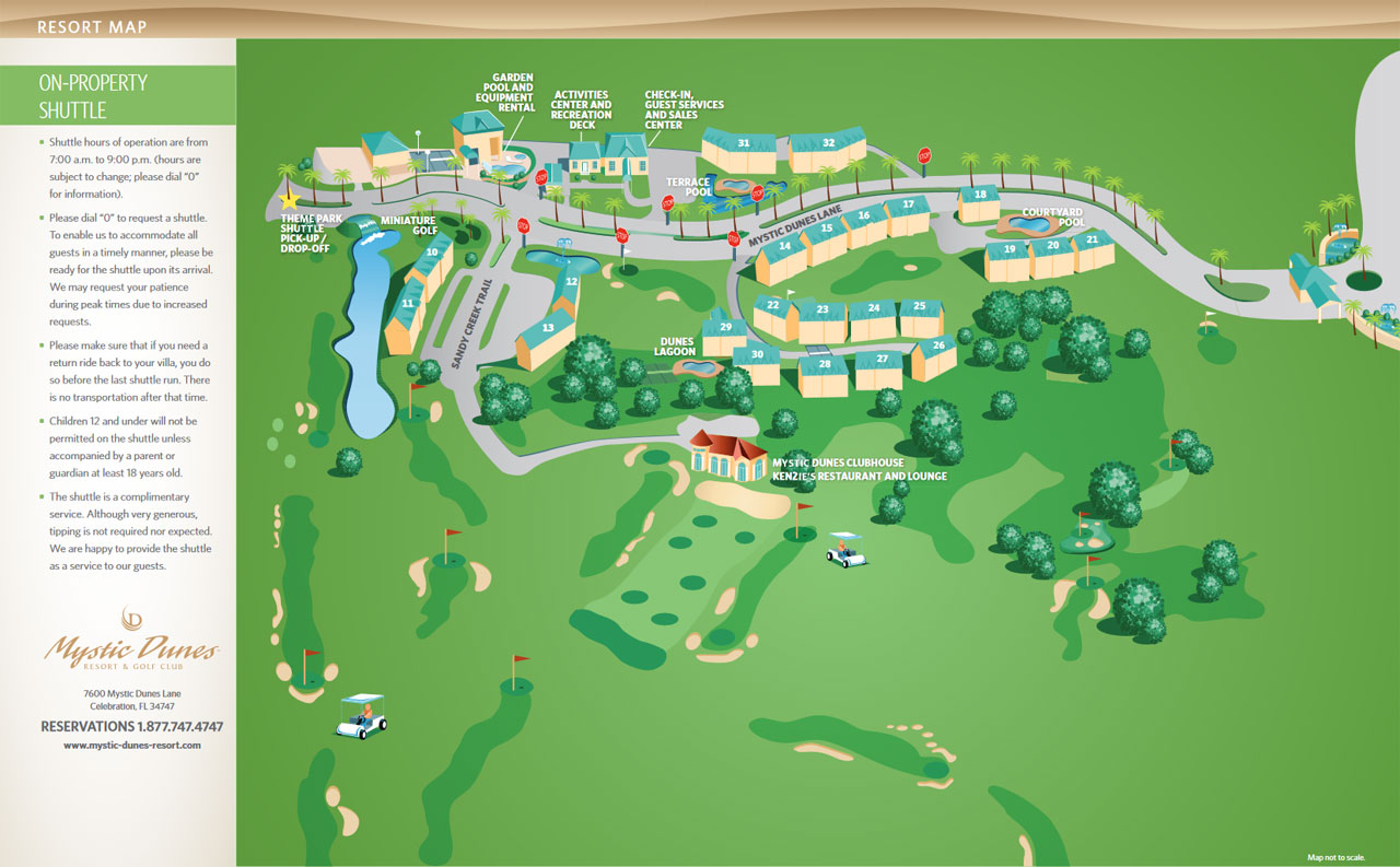 Overview and Map of the Mystic Dunes Resort in Kissimmee Fl Grounds, Water Park and Villas
