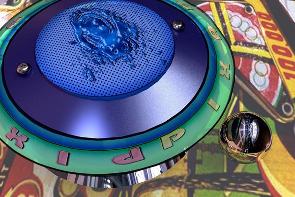 Pinball machine bumper with ball