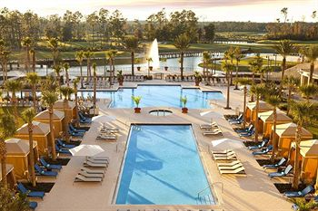 View of the 2 Swimming Pools and Cabanas at the Waldorf Astoria Orlando